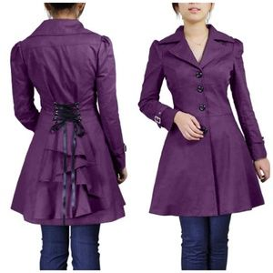 Jackets & Blazers - Plus Size Ruffle Back Lace Up Fitted Coat Purple